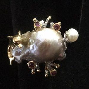 Rare Large Genuine Baroque Pearl Ring
